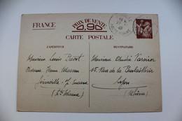 SANS VALEUR CP1 BRUN SUR CARTON COULEUR VARIABLE (CHAMOIS CLAIR) Cad JOINVILLE 20/12/1940 POUR LYON.. - Postales Tipos Y (antes De 1995)