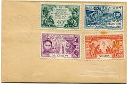 NIGER ENVELOPPE AFFRANCHIE AVEC LES N°53/56 EXPOSITION COLONIALE INTERNATIONALE PARIS 1931 AVEC OBL? NIAMEY 20 NOV ? - Lettres & Documents