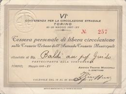 TESSERA LIBERA CIRCOLAZIONE TRANVIE TORINO 1937 (piccole Pieghe) (XF28 - Europa