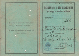 TESSERA AUTORIZZAZIONE VIAGGI AUTOLINEA O FILOVIA 1943 (XF50 - Europa