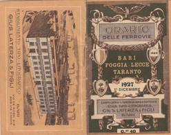 ORARIO DELLE FERROVIE BARI FOGGLIA LECCE TARANTO 1927 (XF91 - Europe