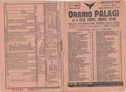ORARIO FERROVIARIO 1937 PALAGI (XF104 - Europe