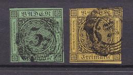 Baden - 1853/54 - Michel Nr. 6/7 - Gestempelt - 45 Euro - Baden