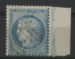 N° 37 Avec Bord De Feuille Avec Un Trait Bleu Vertical Donnant L'aspect D'un Filet D'encadrement. TB - 1870 Siege Of Paris