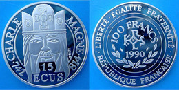 FRANCE 100 F 1990 ARGENTO PROOF SILVER 15 ECU CHARLE MAGNE 742-814 CARLO MAGNO PESO 22,2g TITOLO 0,900 CONSERVAZIONE FON - K. 10 Francs