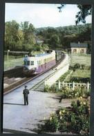 """Carte-Photo Moderne """"Autorail Renault ABJ Entrant En Gare De Forêt-de-la-Londe - Ligne Rouen - Serquigny - Années 50"""" - Trains"""