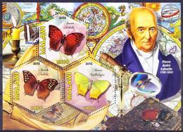 Malawi 2012 MNH SS, Odd Hexagon, Butterflies, Pierre Andre Latreille, Zoologist - Schmetterlinge