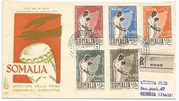 Somalia AFIS Italia Italy Airmail Posta Aerea Sassone 36/38 + A34/A35 Compl. Set On Registered First Day Cover 1956 FDC - Somalia (AFIS)