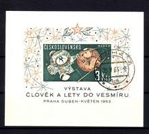 TSCHECHOSLOWAKEI BLOCK 19 GESTEMPELT(USED) 1. WELTRAUMFORSCHUNGSAUSSTELLUNG PRAG 1963 - Blocks & Kleinbögen