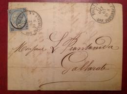 Torino Per Gallarate 1865 J.Degat Suze, Prantanida - Marcophilia