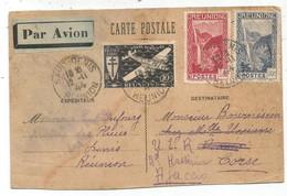 REUNION 10C+1FR+ PA 10FR CARTE INTERZONE TACHEE ??  AVION SAINT DENIS 12.11.1944 POUR LA CORSE - Briefe U. Dokumente