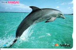 Dauphin Dolphine Poisson Carte Prépayée Card Japon (D 1089) - Dolphins