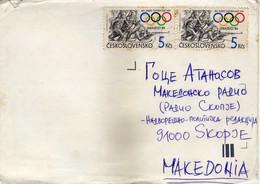 Czechoslovakia Letter Via Macedonia.stamp Motive : 1984 Winter Olympic Games, Sarajevo - Brieven En Documenten
