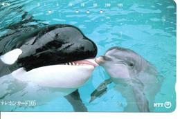 Dauphin Dolphine Poisson Télécarte Phonecard Japon (D 1092) - Dolphins