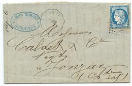 N° 60 BLEU CERES SUR LETTRE / CONVOYEUR BRIVE TB. PER POUR JONZAC / 1874 / LAC - 1849-1876: Periodo Clásico
