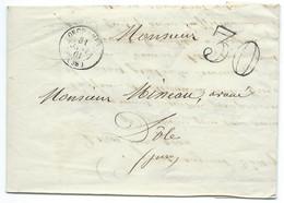 MARQUE POSTALE ORCHAMPS POUR DOLE / 1861 / TAXE 30 DOUBLE TRAIT - 1849-1876: Période Classique