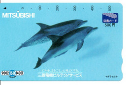 Dauphin Dolphine Poisson Carte Prépayée Card Japon (D 1096) - Dolphins