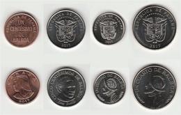 Panama 2017, 4 Coins Uncirculated 1+5 Centimes + 1/10 + 1/4 Balboa - Panama
