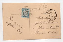 - Carte Postale DINAN Pour PILE-AVOINE (Binic / Côtes-du-Nord) 4.1.1917 - TAXÉE 5 C. Bleu Type Duval - - 1859-1955 Covers & Documents