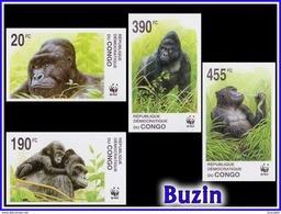 Congo 2110/13** ND Gorilles WWF Dessin De Buzin MNH - Ungebraucht