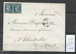 France - Lettre - Yvert 4 - Double Port - Paris Pour Montpellier - Hérault - 1849-1876: Periodo Classico