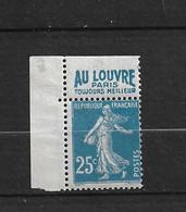France Pub Publicité Au Louvre Paris 140g Yt  25c Semeuse Neuf* Infime  Trace - Pubblicitari
