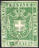 1860 GOVERNO PROVVISORIO 5 CENT. VERDE GIALLASTRO N.18c USATO FIRMA RAYBAUDI - VERY FINE USED RAYBAUDI - Toscana