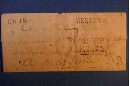 A70 FRANCE LETTRE 1845 MENTON CURSIVE POUR MARSEILLE + MULTIPLES CACHETS INTERESSANTS. A VOIR - 1801-1848: Precursors XIX