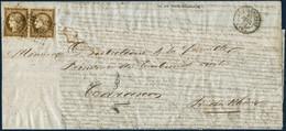 Lettre N°1 10c Bistre, Paire (un Timbre Touché à Gauche), Obl PC 638 Castelnaudary 23/2/52 Pour Tarascon. Cachet D'arriv - 1849-1850 Ceres