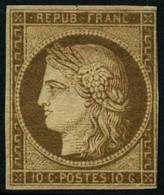 * N°1a 10c Bistre Brun, Petite Marge à Droite, Signé JF Brun - B/TB - 1849-1850 Ceres