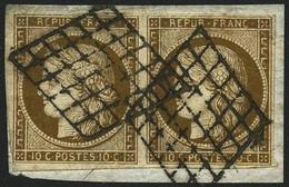 Oblit./ Fragment N°1a 10c Bistre-brun, Paire S/fragment Filets Intacts - TB - 1849-1850 Ceres