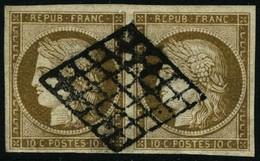 Oblit. N°1b 10c Bistre-verdâtre, Paire - TB - 1849-1850 Ceres