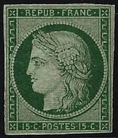 * N°2 15c Vert, Gomme Dimunée, Très RARE - TB - 1849-1850 Ceres