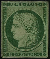(*) N°2 15c Vert, NSG Signé Brun - TB - 1849-1850 Ceres
