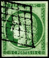 Oblit. N°2 15c Vert, Signé  JFBrun - TB - 1849-1850 Ceres