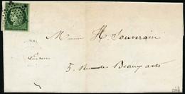 Lettre N°2 15c Vert Vif, Obl étoile De Paris Cachet D'arrivée Au Verso - TB - 1849-1850 Ceres