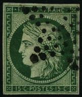 Oblit. N°2b 15c Vert Foncé, Petites Marges - B - 1849-1850 Ceres