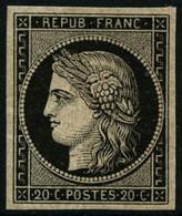 ** N°3 20c Noir S/jaune, Signé Roumet - TB - 1849-1850 Ceres