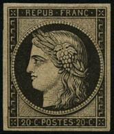 * N°3F 20c Noir, Réimp - TB - 1849-1850 Ceres