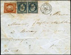 Lettre N°5 + 14 Rare Combinaison à 80c Obl PC 465 Bourdeilles 18/8/54 Sur Devant De Lettre  - B - 1849-1850 Ceres