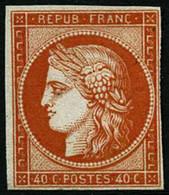 (*) N°5a 40c Orange Vif SG, Fraicheur Postale Signé Calves - TB - 1849-1850 Ceres