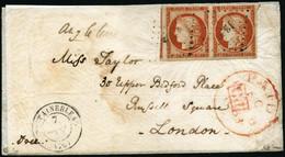 Lettre N°5a 40c Orange Vif, Paire S/lettre Obl PC 1303 (Fontainebleau) Pour Londres ,signé JF Brun Certif Calves - TB - 1849-1850 Ceres