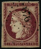Oblit. N°6 1F Carmin, Signé Calves - TB - 1849-1850 Ceres
