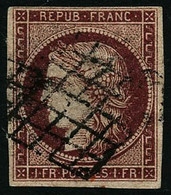 Oblit. N°6 1F Carmin, Pelurage - B - 1849-1850 Ceres
