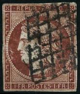 Oblit. N°6A 1F Rouge Brun, Pelurage Au Verso - B - 1849-1850 Ceres