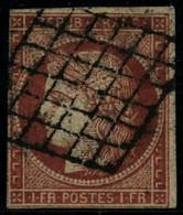 Oblit. N°7 1F Vermillon Au Filet à Gauche, Nuance Superbe Oblitération Légère, Certif Robineau - B - 1849-1850 Ceres