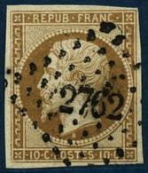 Oblit. N°9 10c Bistre, Qualité Standard, Signé Calves - B - 1852 Luis-Napoléon