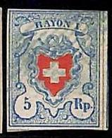 94989aK - SWITZERLAND - STAMPS - Zumstein # 17 II - FINE USED 4 Borders 4 Rande - Gebraucht