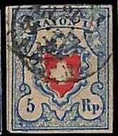 94989aL - SWITZERLAND - STAMPS - Zumstein # 17 II - FINE USED 4 Borders 4 Rande - Gebraucht