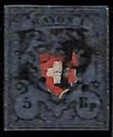 94989dD - SWITZERLAND - STAMPS - Zumstein # 15 II - FINE USED 4 Borders 4 Rande - Gebraucht